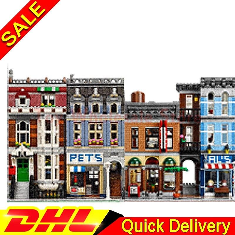Lepin 15009 Pet Shop Supermarket + Lepin 15011 Detective's Office Model Building Street Sight Blocks Bricks Toy 10218 10197 stadtstrabe creator pet shop supermarkt modell lepin 15009 2082 stucke baustein kinder spielzeug kompatibel 10218 ziegel