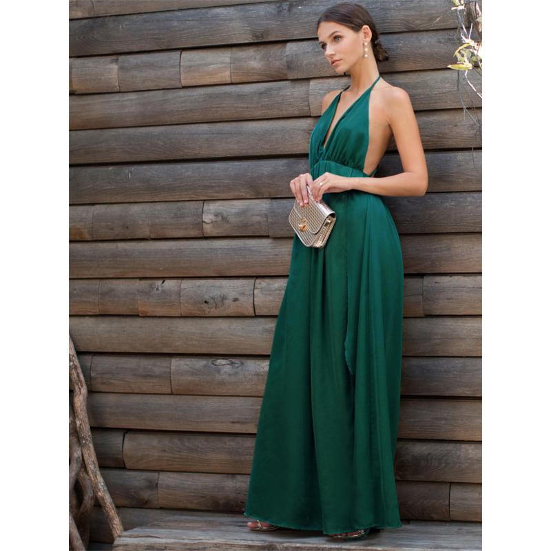 COLROVIE Sexy High Slit Satin Maxi Party Dress 2017 Women Plunge Neck Cross Back Summer Dresses Green Sleeveless Wrap Cami Dress 12