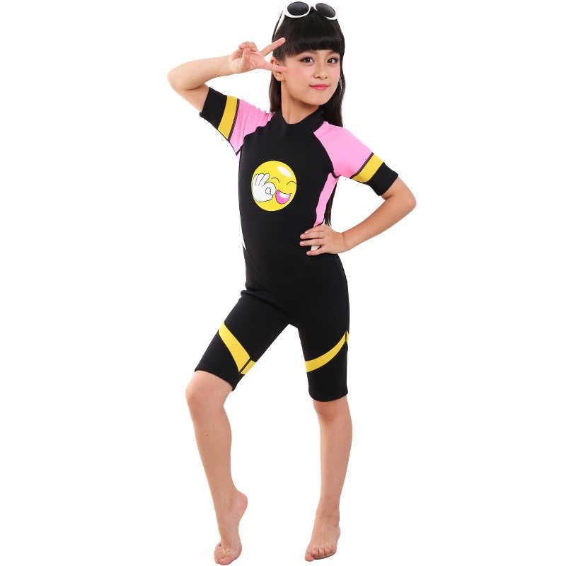 Shorty kombinezon dla dzieci chłopcy dziewczęta jednoczęściowy strój kąpielowy z 2mm neoprenu i ochrona przed promieniowaniem UV, idealne dla Surfing nurkowanie z rurką pływanie