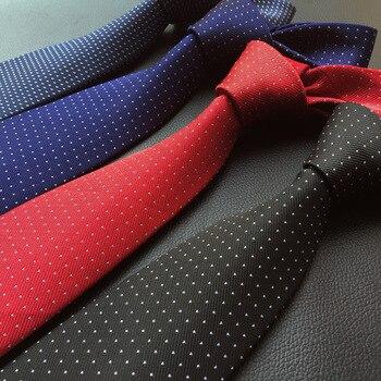 цена на 8cm Men's Ties New Man Fashion Blue Red Black Navy Polka Dot Neckties Corbatas Gravata Jacquard Slim Tie Business Tie for Men