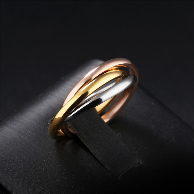 Fashion Classic Creative Trinity Ring Three Ring Winding Ring Women's Stainless