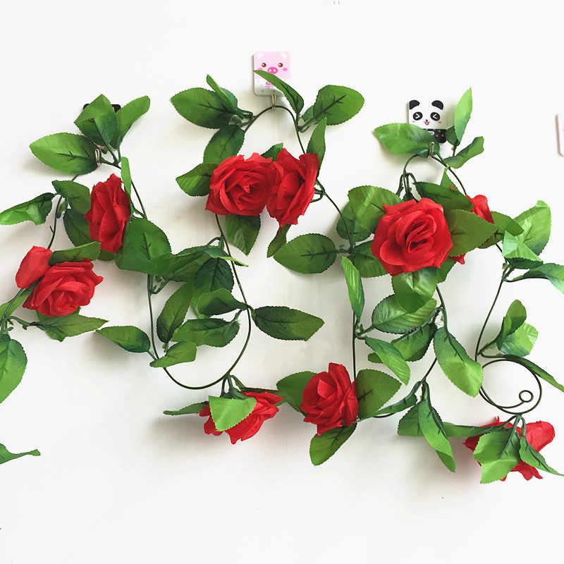 250 Cm/lot Sutra Roses Ivy Vine dengan Hijau Daun untuk Dekorasi Rumah Pernikahan Palsu Daun Diy Gantung Garland Bunga Buatan