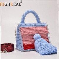 Япония Корея дизайнерский бренд Женская Роскошная сумочка вечерняя сумка ручная работа шерсть акриловая прозрачная сумка портфель кошель