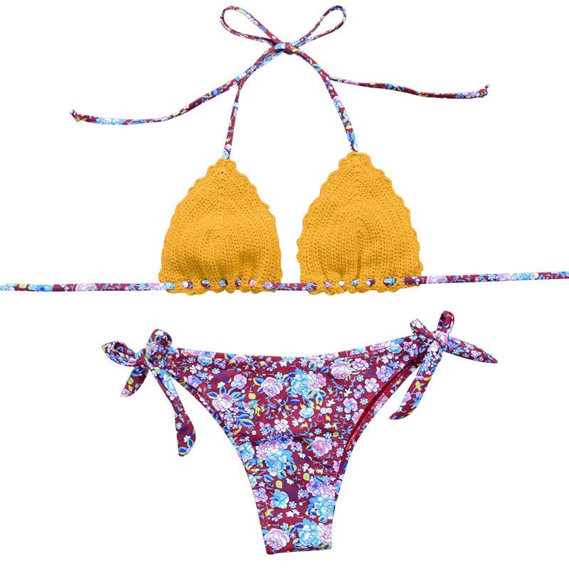 2018 New Summer Beach Handmade Crocheted Sexy Bikini Swimwear Women