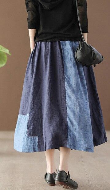 Bordado Novedad Japón Harajuku Mujeres Elástica Chica Primavera Cintura Faldas Largas Estilo Étnico Para Moda Mujer Falda Mori 6A6qI