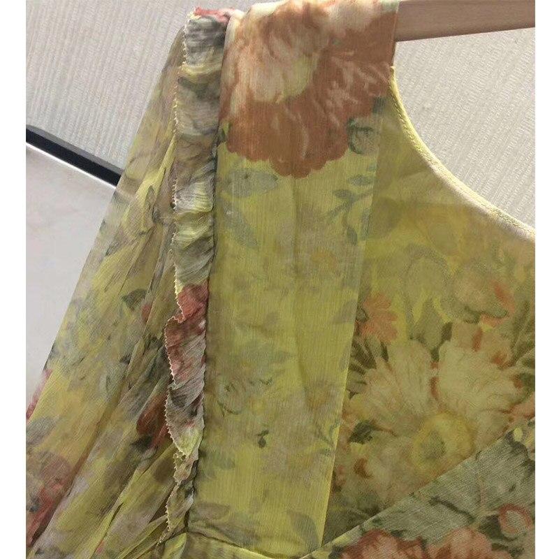 Cosmicchic Femmes 2019 Plage De Print V Qualité 100 Soie Imprimé Floral Ss Maxi Profonde Flower Robe Sexy Latern Manches Supérieure cou qEr1TE