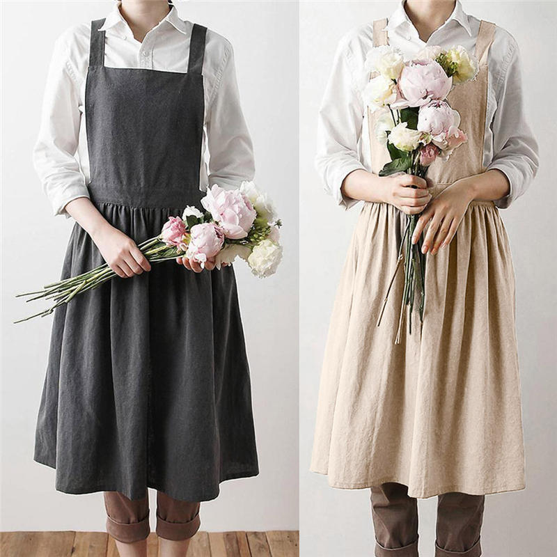 Las mujeres delantales, ropa de cama de algodón sólido vestido sin mangas de floristería delantal adulto cocina Cref ropa suelta diario @ C