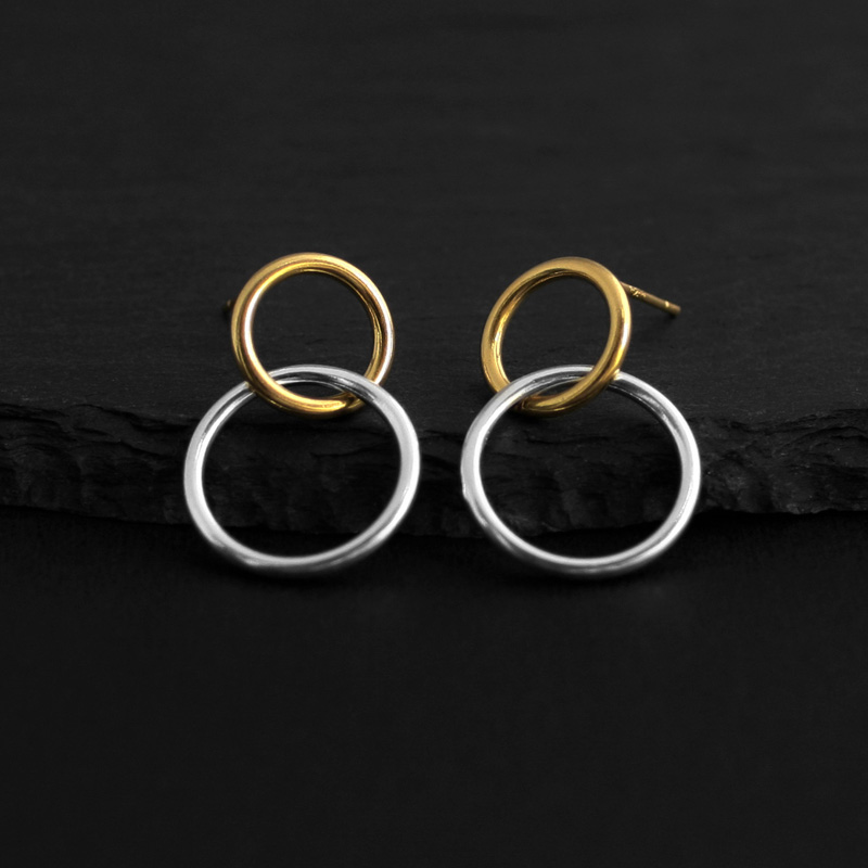 Fashion Silver Color  Double Circle Earrings For Women Wedding Jewelry Brincos Pendientes