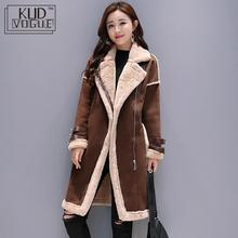 Women Faux Leather Lambs Wool Coat Female Long Thick Warm Shearling Coats Suede Jackets Autumn Winter Outerwear