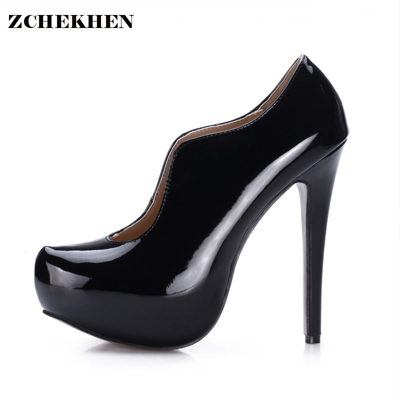Fashion Women  Height Platform Extreme High Heels Shoes patent leather Sexy Pumps Nightclub Evening Party Wine  Black 3463B-L2 silver patent leather sexy ballet heels fetish shoes high heels pumps silver heels ladies party shoes 2017 ballet dance shoes