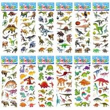 12 גיליונות/סט 3D דינוזאור מדבקות לילדים צעצועי בית קיר דקור cartoon מיני מדבקת רעיונות ילדי מחברת יומן תווית