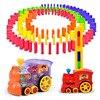 Otomatik Domino tuğla döşeme oyuncak tren ses ışık ile araba asansör sıçrama köprü mancınık Domino seti hediye çocuklar için
