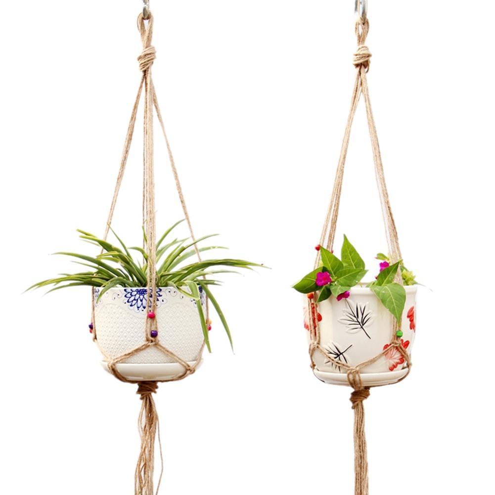 2PCS Hanging Garden Greening Flowerpot Nets Flowerpot Baskets Plant Hangers #BW