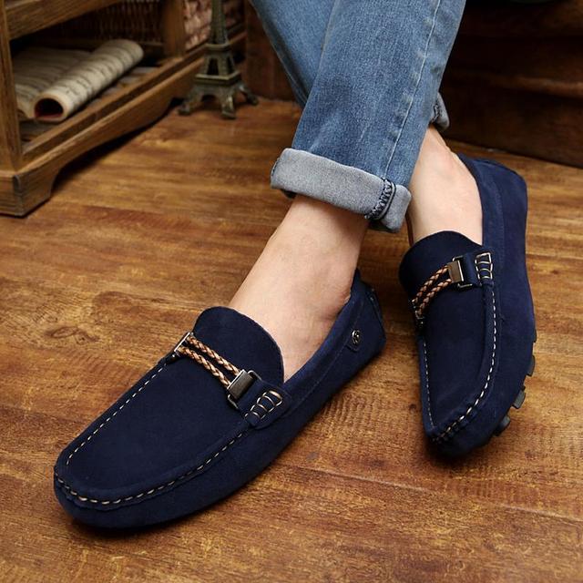 32b75f98dfe 2015 primavera 2016 marca nuevo cuero genuino hombres holgazanes casuales  para hombre zapatos planos mocasines de