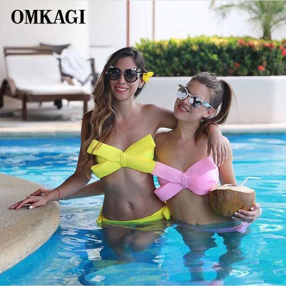 Hot Solid Swimwear Women Red Bikini 2016 Sexy Big Bow Bikini Set Swimsuit Bathing Suit Push Up Brazilian Biquini Maillot De Bain