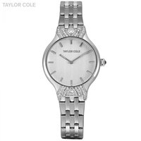 2017 New Taylor Cole Silver White Watches Women Stainless Steel Quartz Watch Brand Ultra Thin Lady