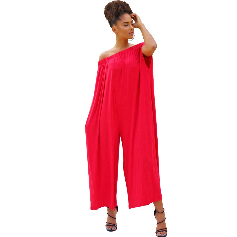 Solid Strapless Off Shoulder Jumpsuit Women Sleeveless Sexy Slash Neck Wide Leg Romper Loose Casual Plus Size Jumpsuit