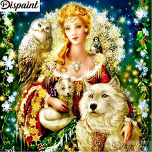 Dispaint Full Diamond Embroidery Fairy wolf Painting Cross Stitch Patterns Rhinestone Unfinished Home Decor A12146