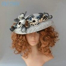 BRITNRY Vintage Handmade Wedding Hat Flowers Fascinators for Women Elegant Hat Wedding Party Evening Bridal Accessories