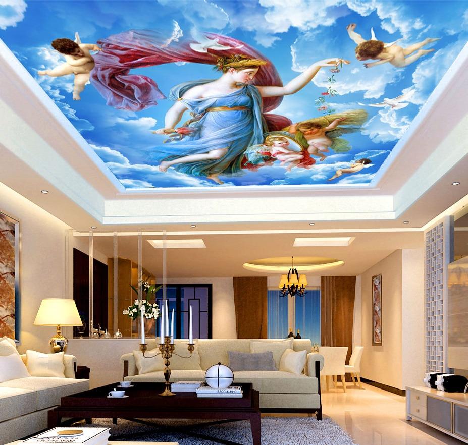 Large Sky Ceiling Mural 3d Ceilings Mural white cloud Wallpaper for Living room and bedroom 3d