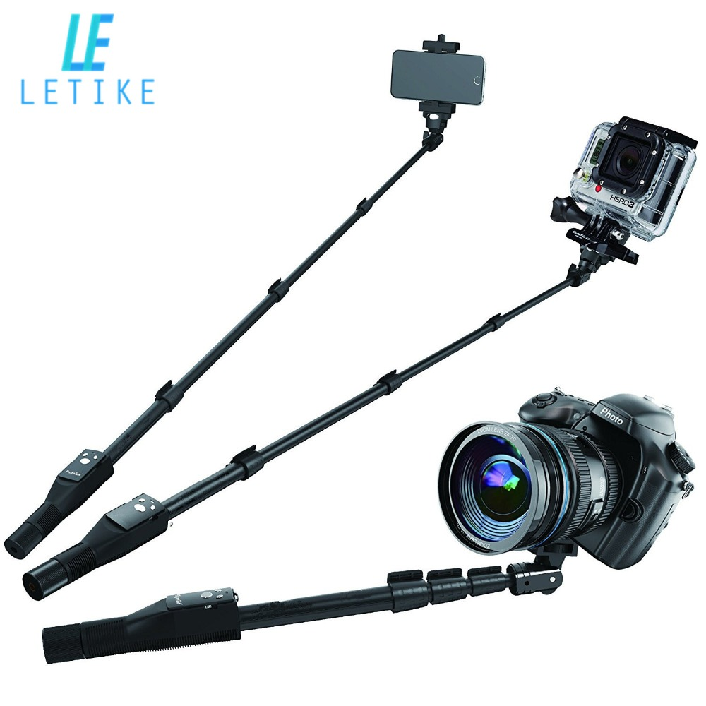 Letike Professional High End Alloy Selfie Stick Monopod, Bluetooth Remote For Apple, Android & DLSR Cameras & sport Cameras ...