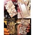 Bling luxo Diamante Strass casos de Telefone para o iphone para Samsung Bowknot Artesanal Jóias De Cristal Gems Caso Capa Dura