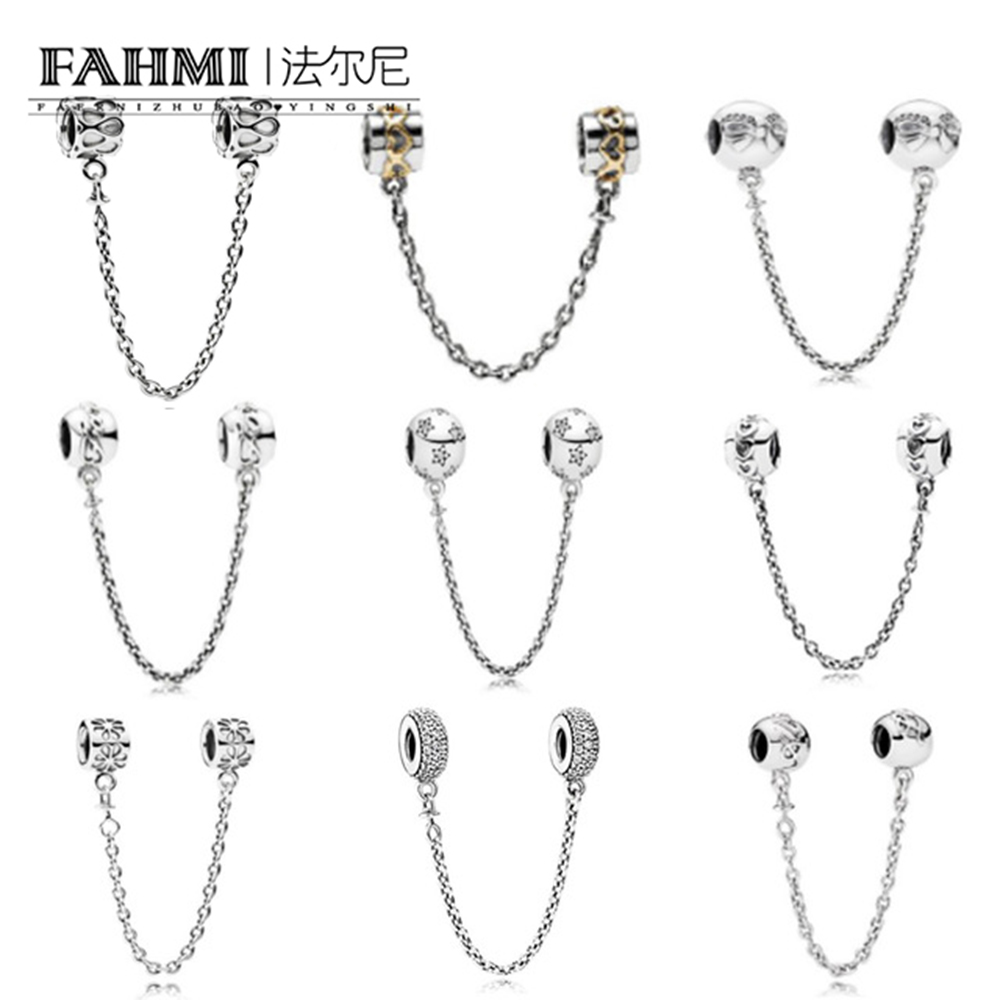 FAHMI Genuine 925 Sterling Silver Stars Bow Clear CZ Security Chain of Pearls Charm Fit Original Bracelet Jewelry Bracelet free shipping imitation pearls chain flatback resin material half pearls chain many styles to choose one roll per lot