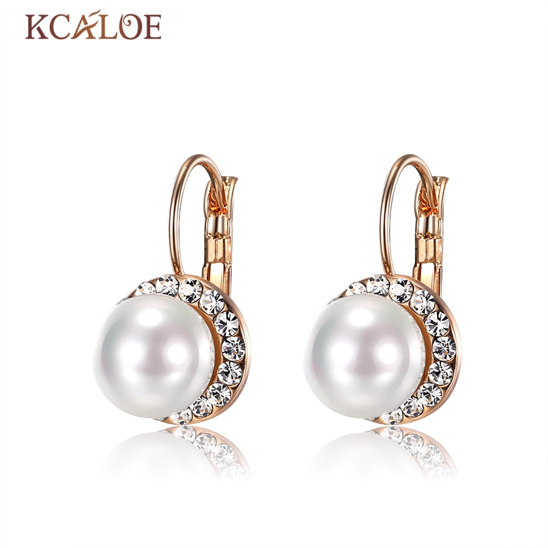 KCALOE Natural Shell Pearl Crystal Earrings Wedding Bridal Flash Ear Buckle Luxury Zircon White Round Ball Pearls Drop Earrings