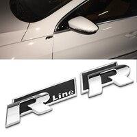 Car Styling 3D Aluminum R Line Rline R Car Badge Emblem For Volkswagen VW Polo Golf