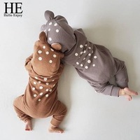 HE Hello Enjoy Baby Unisex Baby Rompers Spring 2018 Toddler Boys Clothes Animal Hooded Print Dot