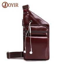 JOYIR Fashion Cow Genuine Leather Crossbody Bags Men Chest Bags Pack Anti theft Male Shoulder Bag Casual Men's Messenger Bag