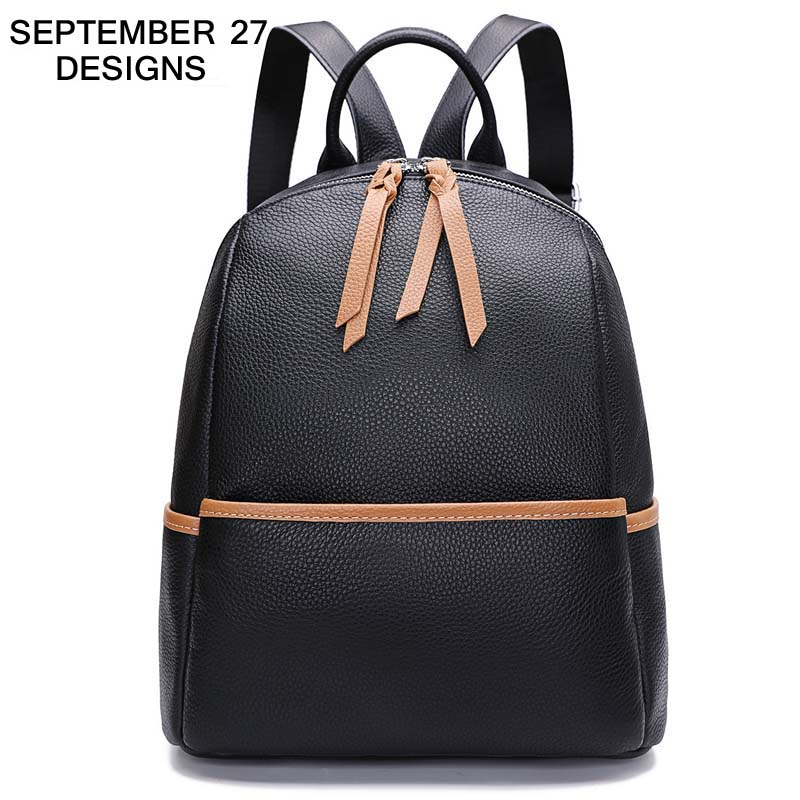 New Fashion Women Backpack 100% Real Leather Ladies Coffee Black Cowhide Bag Travel Bags Youth Girls Schoolbags Knapsack Holiday