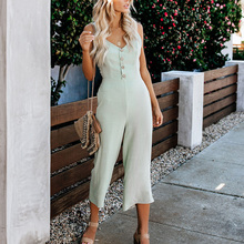 Women Concise Casual All-match Solid Color Sleeveless Jumpsuit Concise Casual Loose Sexy V-neck Jumpsuits concise women s satchel with letter and solid color design