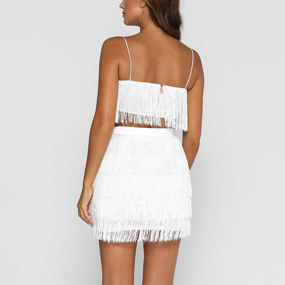 3db3c4f5425 ... Sexy Tassels Two Piece Set Crop Top And Skirt Off Shoulder Bandage  Party Outfits Women Fringe ...