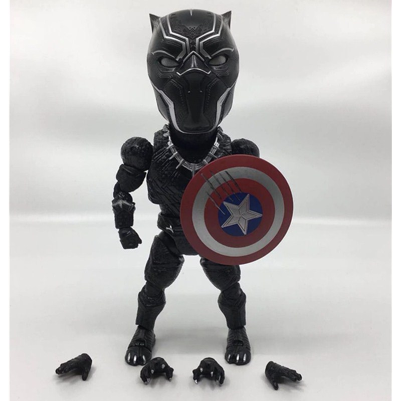 Justice League Avengers Variable Egg Black Panther Cute Q 18cm Action Figure Attack Captain America Civil War Doll Toy L1371 anime civil war action figures captain america statue avengers bust collection model toy