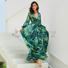 CUERLY Summer Beach Maxi Dress Women Deep V Neck Print Party Dress Lace-Up Sexy Ladies Bohemian Dresses Elegant Long Dress крючки vmc 7136 bn 15шт 8