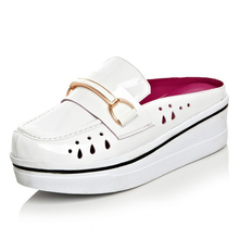 New Arrive Casual Women Genuine Leather Platform Slippers Fashion Slip-on Women Comfortable Platform Beach Sandals Ladies Slides