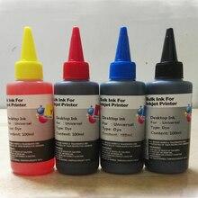 Kit universal de recarga de tinta del tinte para epson canon hp brother lexmark dell ciss de la impresora de inyección de tinta cartucho de tinta de la impresora 100 ml * 4 unid