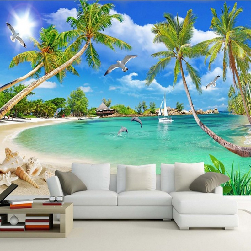 Modern Custom 3d Photo Wallpaper Wall Murals 3D Wallpaper Summer Beach Trees Landscape Home Decor For Room Bedroom Living Room