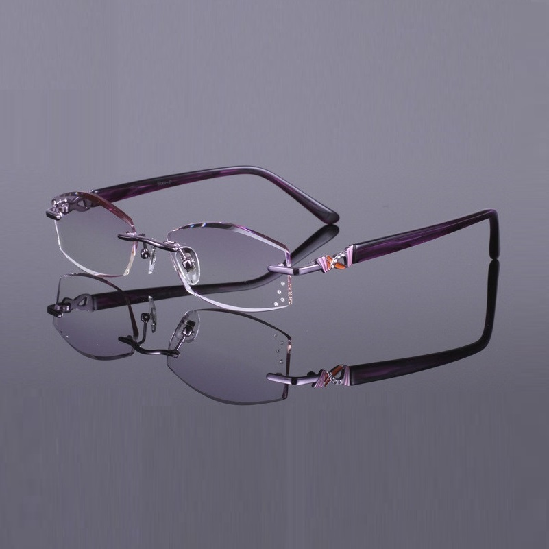 c576eded64 52 17 138 Frameless ultra light titanium plate women gradient color diamond  cutting finished prescription myopia glasses female-in Prescription Glasses  from ...