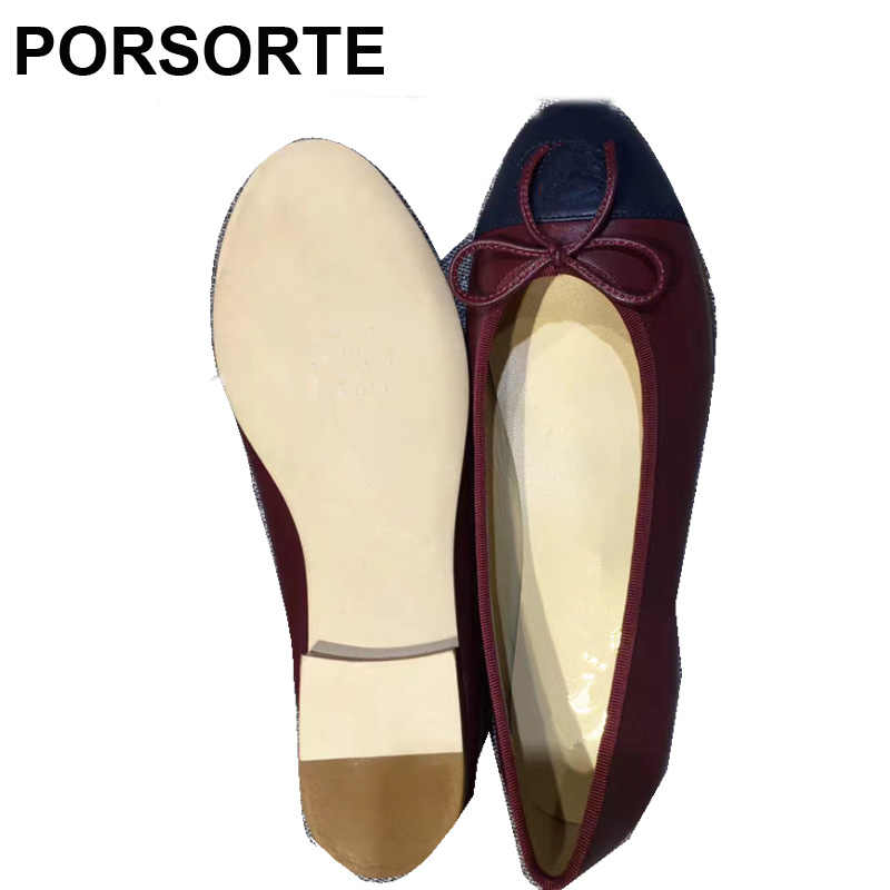 99c350c853c6 Colorblock Cap-Toe Bowknot Ballet Flats Shoes Woman Classic Slip On Pointed  Toe Dress Shoes Zapatos De Mujer Sapato Feminino