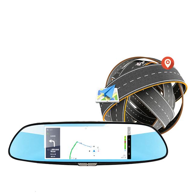 1080FH dual lens Car Dvrs Camera Mirror dvr 7 inch Android 5.0 GPS navigation RAM 1GB + ROM 16GB Dash cam 3G+wifi dvr recorder