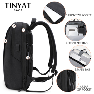Image 5 - TINYAT męski plecak na laptopa USB na 15.6 calowy plecak męski torba 90c otwarty biznes plecak na ramię męski plecak podróżny Mochila
