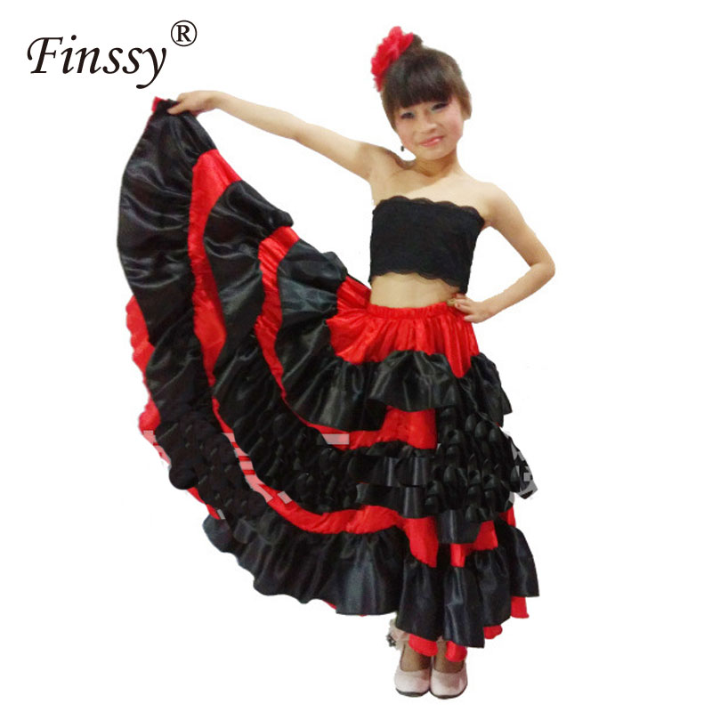 Spanish Red Flamenco Style Long for Girl Ballroom Skirt for Girls Black Dance Costumes for Kids Partty Clothes