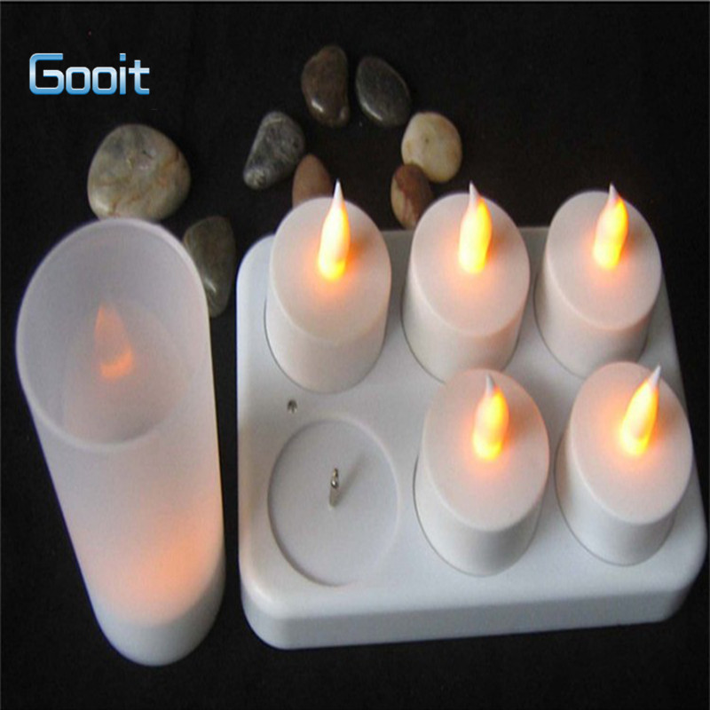 6 LED Night Rechargeable Flameless Tea Light Candle For Xmas Party Electronic Candle Lamps fancy purple led flameless candle