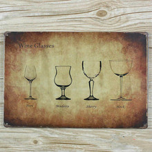 """NEW 2015 """" wiskey and wine glasses  """"  METAL Tin Signs Vintage House Cafe Restaurant Poster MetalPainting 20*30 CM wall pictures"""