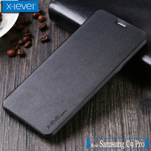 X Level for Samsung C9 Pro Case X-Level FIB Luxury Vintage Business Flip Leather Kickstand Phone Back Cover for Galaxy C9 Pro