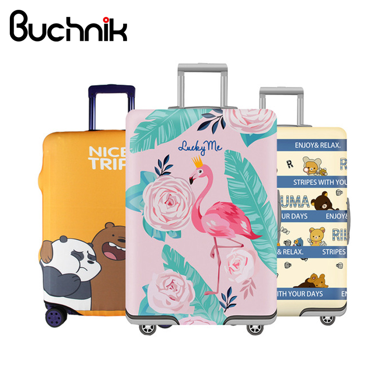 BUCHNIK Luggage Protective Cover Elastic Fabric Case Baggage Dust Pouch Suitcase Protector Packing Organizer Travel Accessories