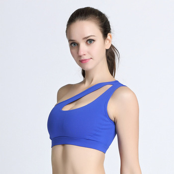 Sexy One Shoulder Fitness Yoga Push Up Sports Bra for Women Gym Running Padded Tank Top Athletic Vest Underwear Sport Bra Top 4