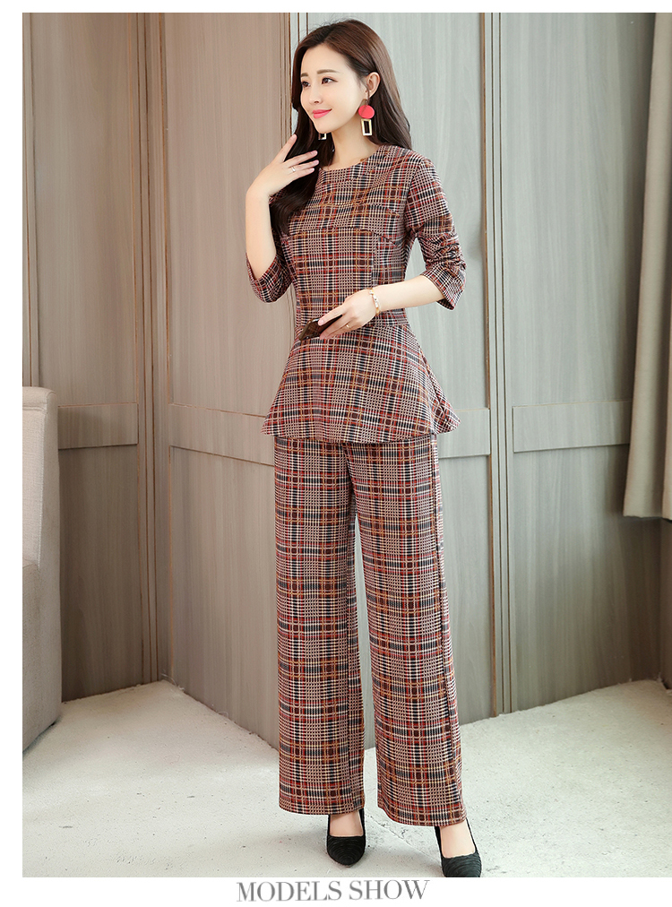 Plaid Two 2 Piece Sets Suits Women Long Sleeve Tunic Tops And Wide Leg Pants Sets Office Elegant Spring Autumn Women's Sets 2019 34